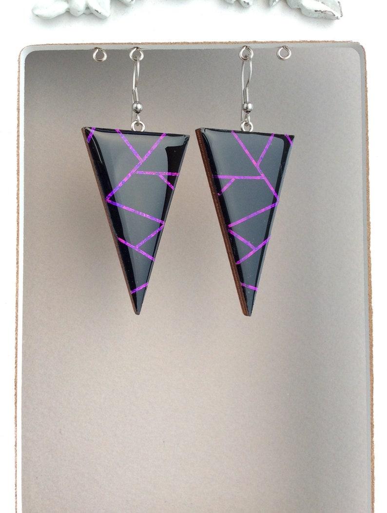 Geometric Earrings Chunky Big Sterling Silver Earrings image 0