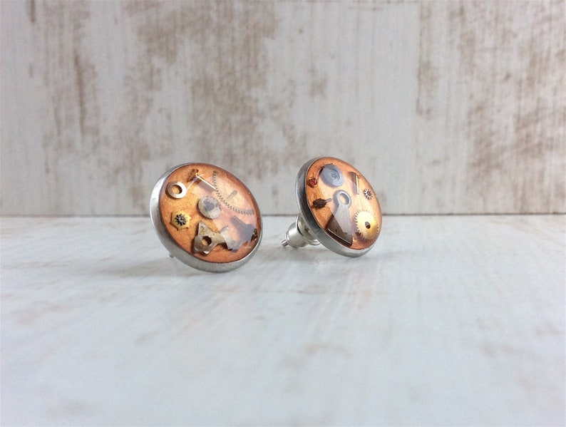 Orange Stud Earrings Stainless Steel Studs Burnt Orange image 0