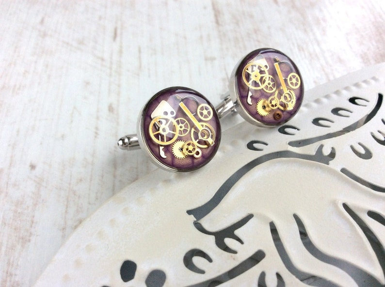 Luxury Steampunk Cufflinks MADE TO ORDER Violet Wedding image 0