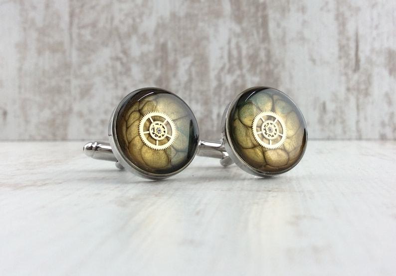 Luxury Silver Cufflinks. Steampunk Cufflinks. Kraken image 0