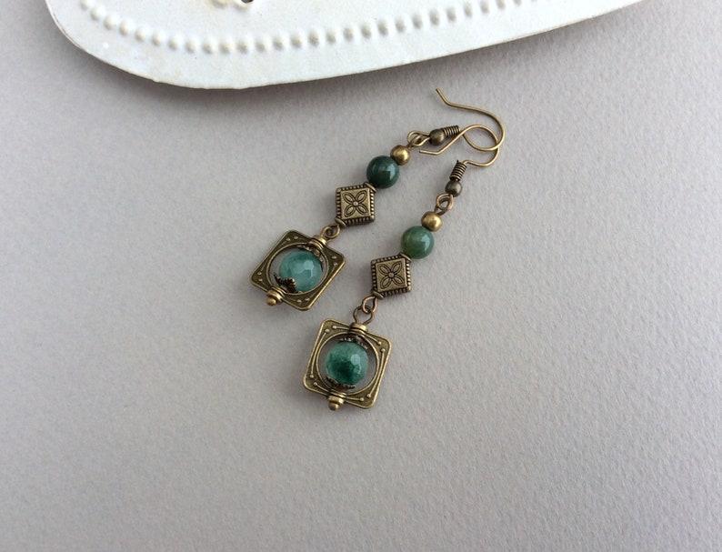Boho Earrings Bohemian Jewellery Bronze Earrings Long image 1