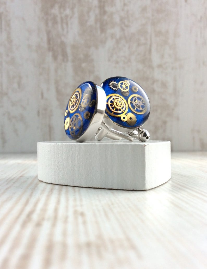 Bright Blue Cufflinks MADE TO ORDER Chunky Cufflinks image 0