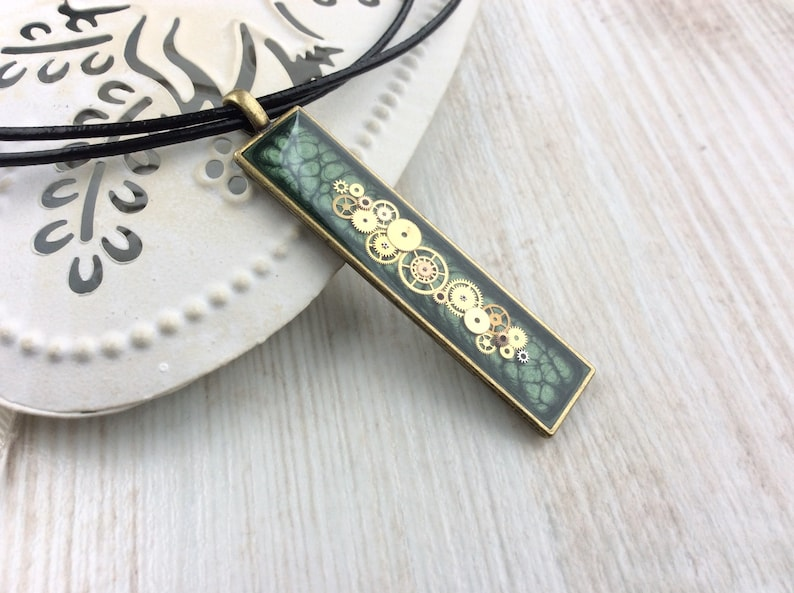 Green Long Necklace Olive Green Necklace Narrow Pendant Bar image 0