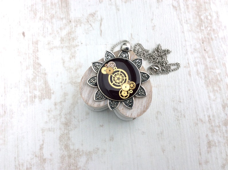 Sunflower Necklace Black Necklace Steampunk Necklace image 0