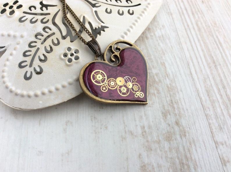 Purple Heart Necklace Large Heart Pendant Steampunk image 0