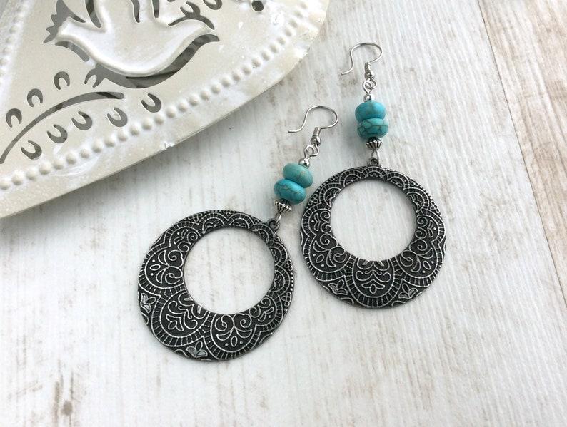 Large Silver Disc Earrings Big Hoops Turquoise Bead image 0
