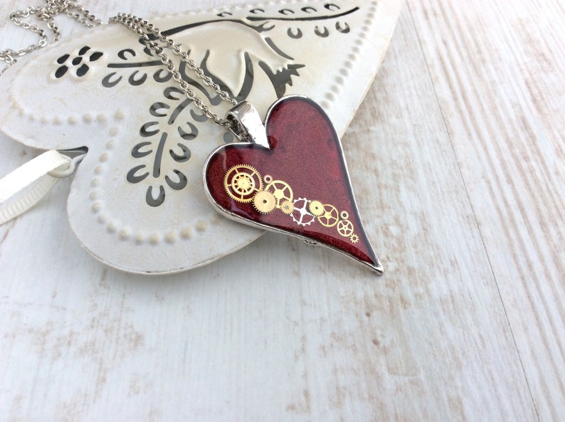 Steampunk Necklace Large Clockwork Heart Red Heart Necklace image 0