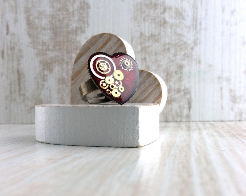 Red Ring Heart Ring Bronze Ring Adjustable Ring Girlie image 0
