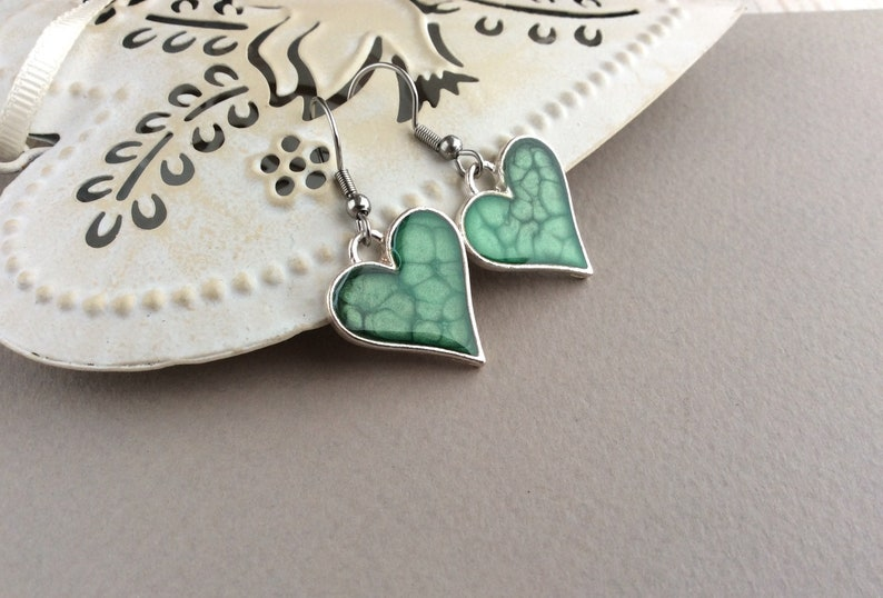 Green Earrings Green Heart Earrings Resin Earrings Silver image 0