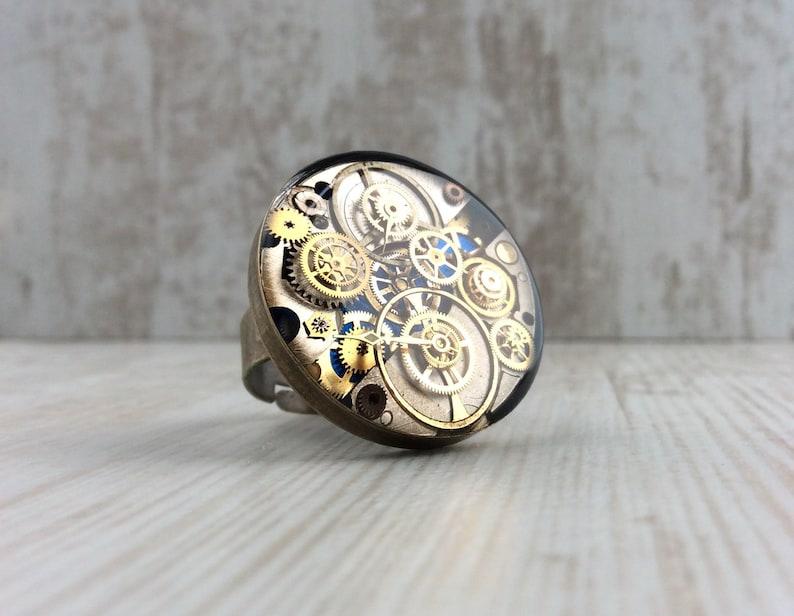 Large Ring. Blue Ring. Bronze Ring. Resin Cog Ring. Adjustable image 0