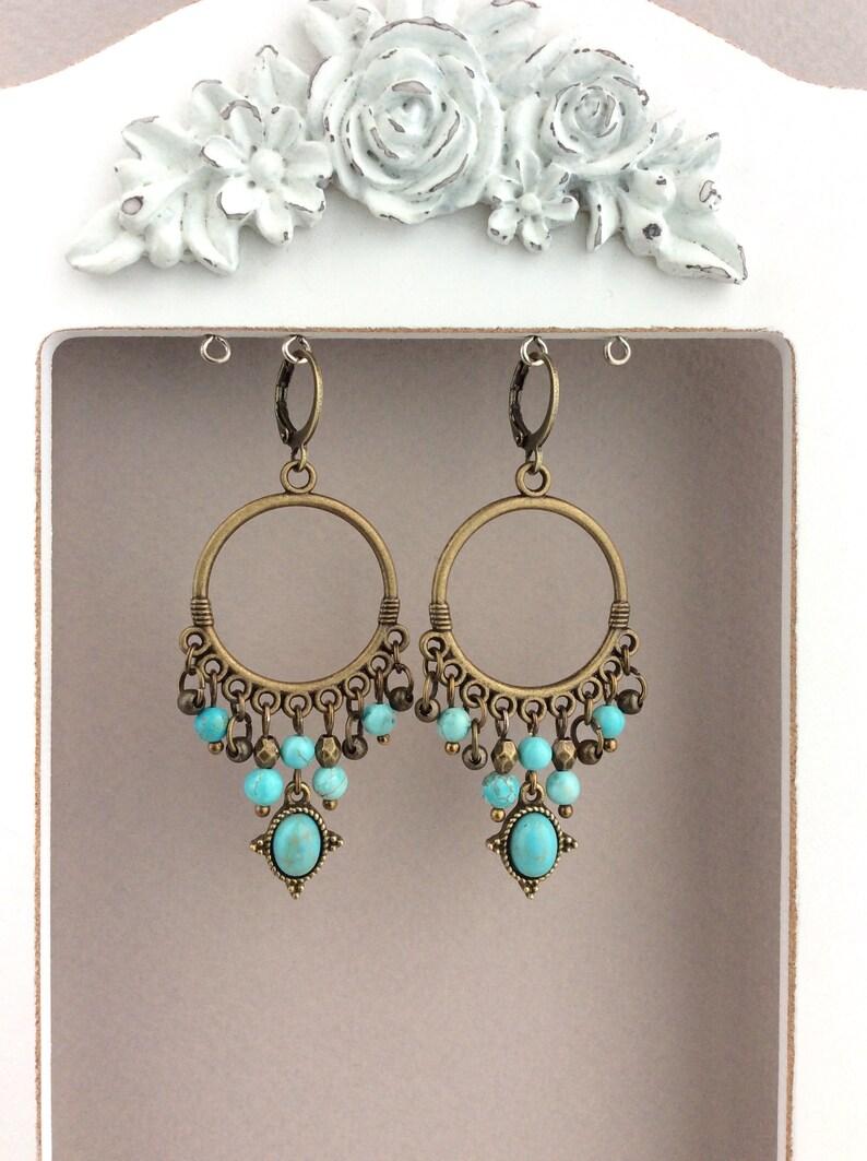 Boho Earrings Turquoise Chandelier Boho Jewellery Bronze image 0