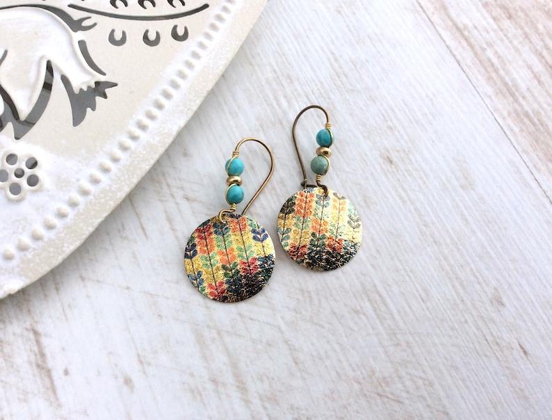 Turquoise Bronze Earrings Latchback Ethnic Earrings Blue image 0