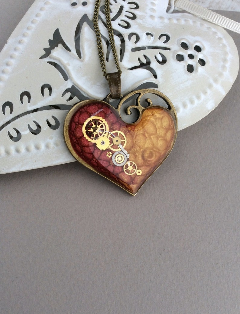 Red Necklace Large Heart Pendant Steampunk Necklace Vintage image 0