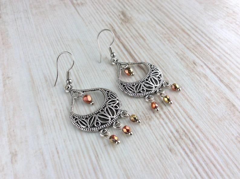 Silver Teardrop Earrings Silver Dangle Earrings Antique image 0