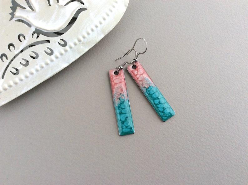Pink Blue Earrings Bar Earrings Ombre Earrings Long Drop image 0