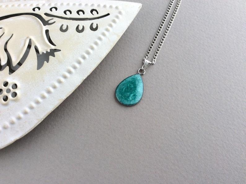 Teal Teardrop Necklace Blue Pendant Teardrop Pendant Cute image 0