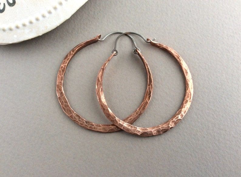Hammered Copper Hoops Hand Forged Oxidised Copper Chunky image 0