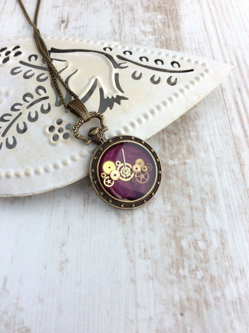 Steampunk Necklace Purple Pocket Watch Alice in Wonderland image 0