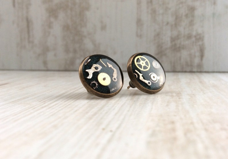 Black Studs Bronze Studs Black Stud Earrings Large Studs image 0