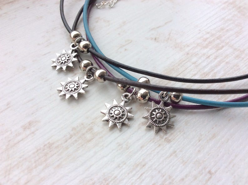 Sun Charm Choker. Leather Choker. Leather Cord. Cute Necklace. image 0