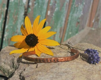 Believe Hand Hammered Copper Bangle Bracelet