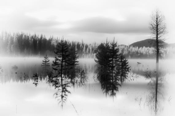 Enchanted (Metal Panel) long exposure photograph of Dry Lake with reflections on the water