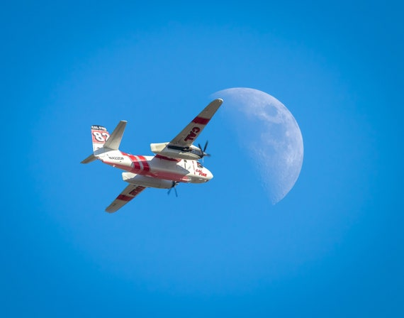 Tanker 82 enroute to the Moon (Prints)  Cal Fire Air Tanker flying in front of the Moon