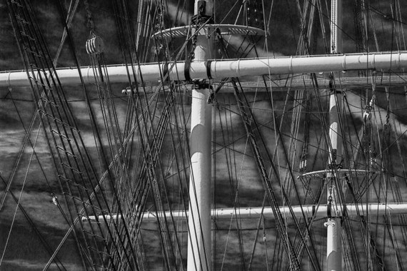 Intricate (Prints) Black ad white Ship mast