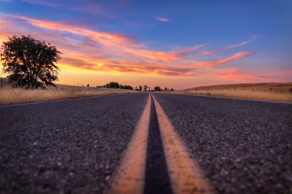 Follow the (CANVAS) Millville Plains Road at sunset in Northern California
