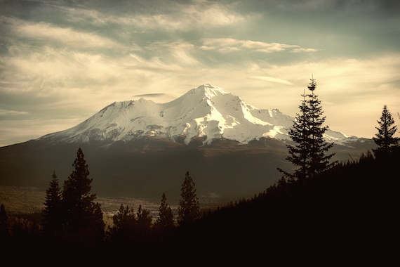 Waking Up   (CANVAS) with Mt. Shasta from Calstle Lake Rd