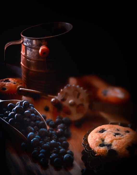 Grandma's Blueberry Muffins  (CANVAS) Dark food photography of blueberry muffins and vintage kitchenware