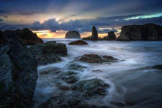 Breathtaking (Metal Panel) Long exposure beach photograph Bandon Oregon Sunset