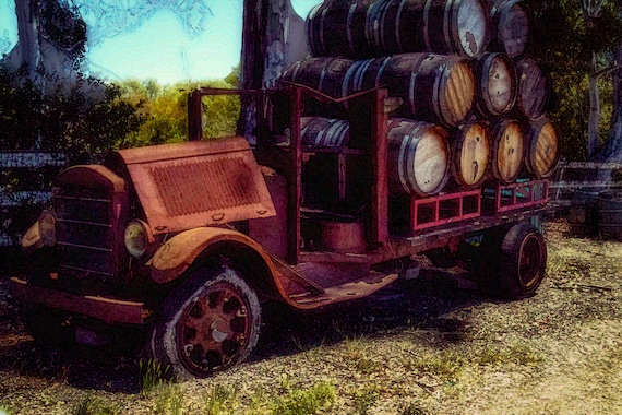 Loaded (prints) An old wine truck loaded with wine barrels digital photograph