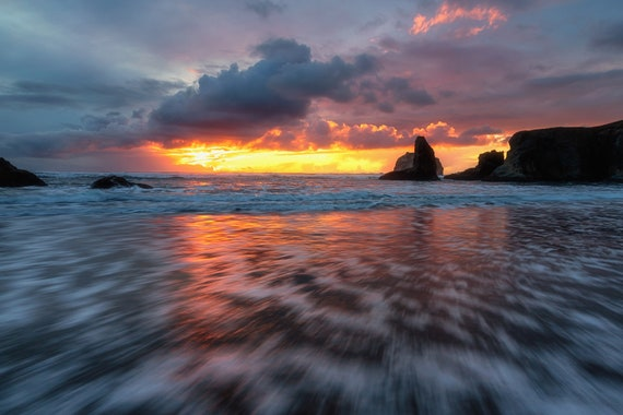 Spellbound (Metal Panel) Long exposure beach photograph Bandon Oregon sunset