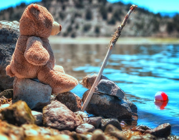 My little fishing buddy  (prints) just a teddy bear fishing with his pole and bobber