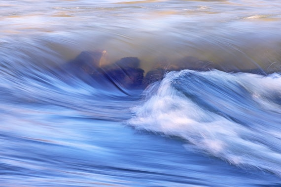 Making Waves (Metal Panel) Water rushing over rocks on the Rogue River Oregon
