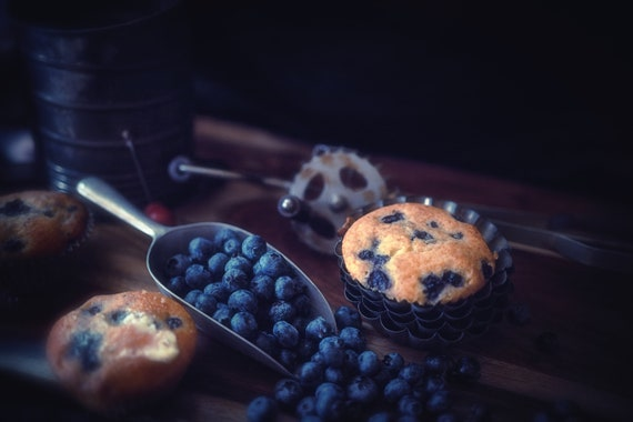 Old Time Goodies (Metal Panel) Dark food photograpy of Blueberry muffins and vintage kitchenware