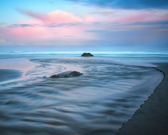 A Morning Run (Prints)  long exposure beach photograph Bandon Oregon at Sunrise
