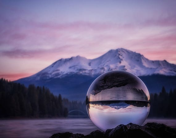 My Perspective on a Sunrise (Prints) Mt. Shasta from Lake Sisikyou in a crystal ball