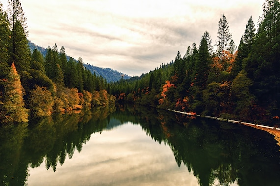 The Pit River (Metal Panel)  the Pit River in the Fall Northern California