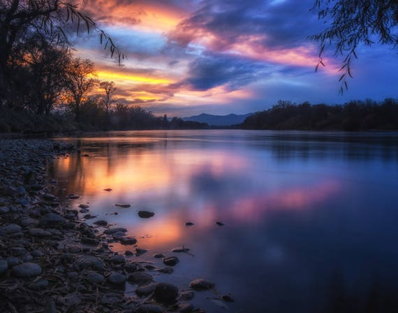 The Edge of Night (prints) long exposure photograph sunset Sacramento River California reflections on the water