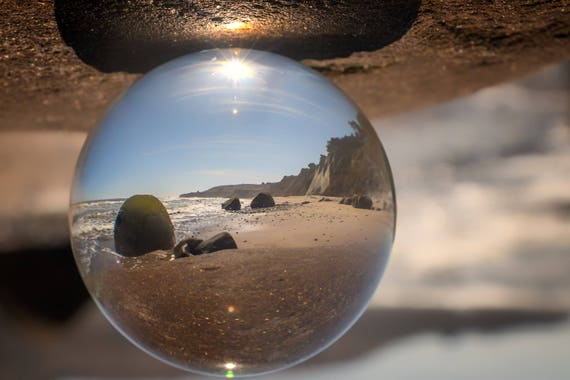 Beach Ball in color refraction photography Bowling Ball Beach (Metal Panel)