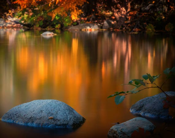 Fall on the Water (prints) Brandy Creek with fall colors Whiskeytown Lake