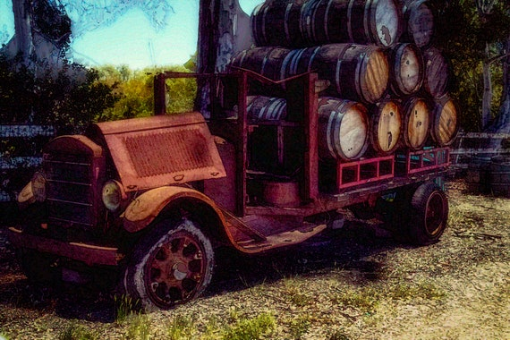 Loaded (Metal Panel) an old wine truck loaded with barrels of wine digital photograph