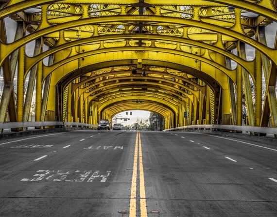 Double Yellow (Prints) Tower Bridge Sacramento California