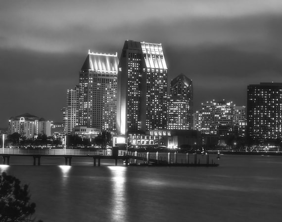 San Diego City Lights in Black and White
