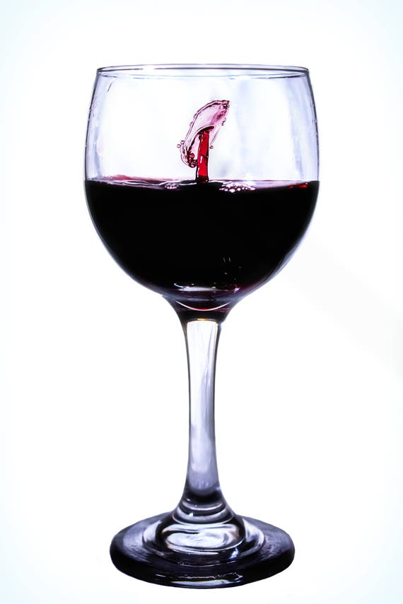 Seeing Fish  (Metal Panel) wine drops collision in a glass of wine photograph
