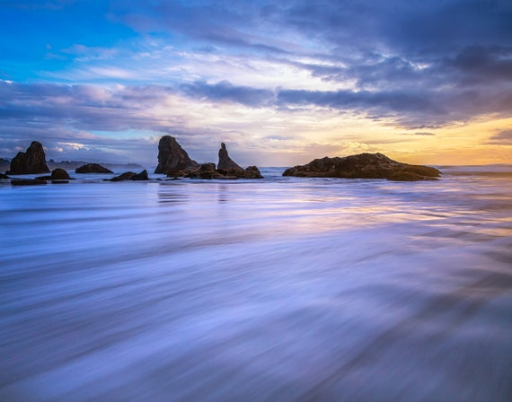 Fluid (Prints)  long exposure beach photograph Bandon Oregon
