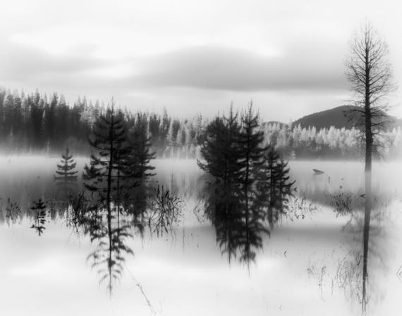 Fading into Grey (prints) long exposure photograph Dry Lake reflections on the water