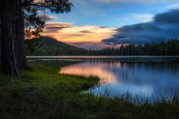 Dreaming (Metal Panel) long exposure photograph of Juanita Lake Sunset reflections on the water